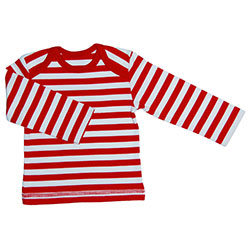 Canboli Organic Baby Long Sleeve T-shirt  Red Straipe  0-3 Month