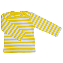 Canboli Organic Baby Long Sleeve T-shirt (Straipe Yellow, 12-18 Month)