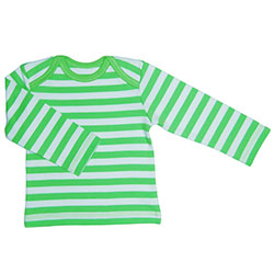 Canboli Organik Bebek Uzun Kollu T-shirt  Çizgili Yeşil  3-6 Ay