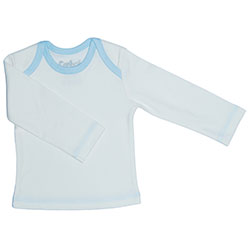 Canboli Organik Bebek Uzun Kollu T-shirt  Ekru Açık Mavi Biyeli  6-12 Ay