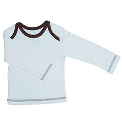 Canboli Organik Bebek Uzun Kollu T-shirt (Ekru Kahverengi Biyeli, 6-12 Ay)