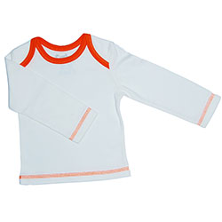 Canboli Organik Bebek Uzun Kollu T-shirt (Ekru Kırmızı Biyeli, 12-18 Ay)