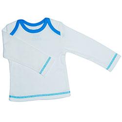 Canboli Organik Bebek Uzun Kollu T-shirt  Ekru Mavi Biyeli  3-6 Ay