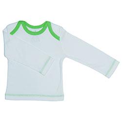 Canboli Organik Bebek Uzun Kollu T-shirt  Ekru Yeşil Biyeli  0-3 Ay
