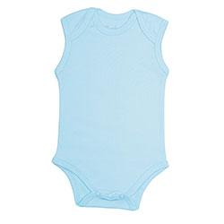 Canboli Organik Bebek Kolsuz Body  Mavi  3-6 Ay