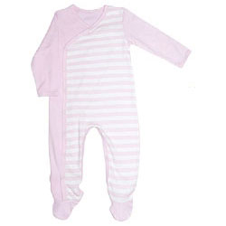 Canboli Organic Baby Playsuit  Pink Straipe  12-18 Month