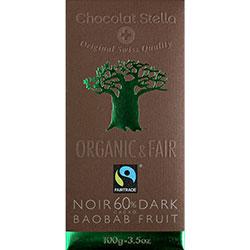 Chocolat Stella Organik Baobab Meyveli %60 Kakaolu Bitter Çikolata 100gr