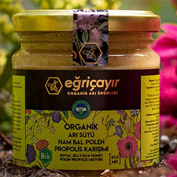 Eğriçayır Organic Royal Jelly + Raw Honey + Pollen + Propolis Mix 240g
