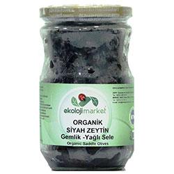 Ekoloji Market Organik Siyah Zeytin (Gemlik Yağlı Sele) 400gr