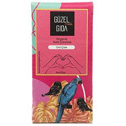 GÜZEL GIDA Organik Chili & Çilek Ham Çikolata  %70 Kakao  Glutensiz  85g