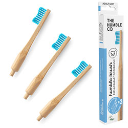 Humble Brush Ekolojik Bambu Değiştirilebilir Başlık Diş Fırçası  Yetişkin  Yumuşak  Mavi