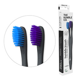 Humble Brush Ekolojik Bitki Bazlı 2'li Diş Fırçası  Yetişkin  Hassas  Mavi&Lila