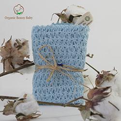 Organic Bonny Baby Organik El Yapımı Banyo Lifi (Mavi, 25cm)