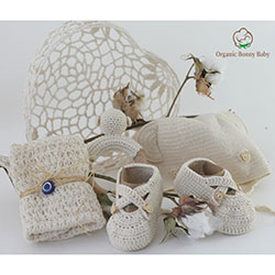 Organic Bonny Baby Organik El Yapımı Hediye Seti (Krem)