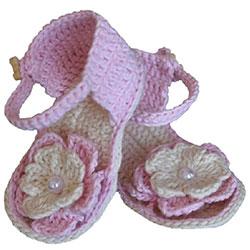 Organic Bonny Baby Organik El Yapımı Sandalet  0-6 Ay  Pembe