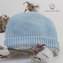 Organic Bonny Baby Organik El Yapımı Şapka  0-2 Yaş  Mavi