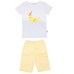 OrganicKid Organik Şortlu Pijama Takımı (Ay Dede, Sarı, 3 Yaş)
