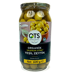 OTS Organik Salamura Domat Yeşil Zeytin (Orta Boy) 600gr